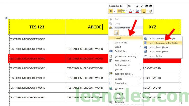 Cara Menambah Kolom di Tabel Microsoft Word
