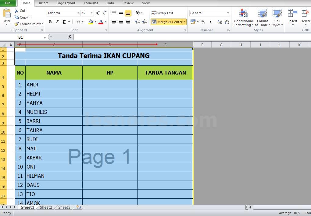 Cara Menyamakan Otomatis Ukuran Tinggi Baris dan Lebar Kolom Excel
